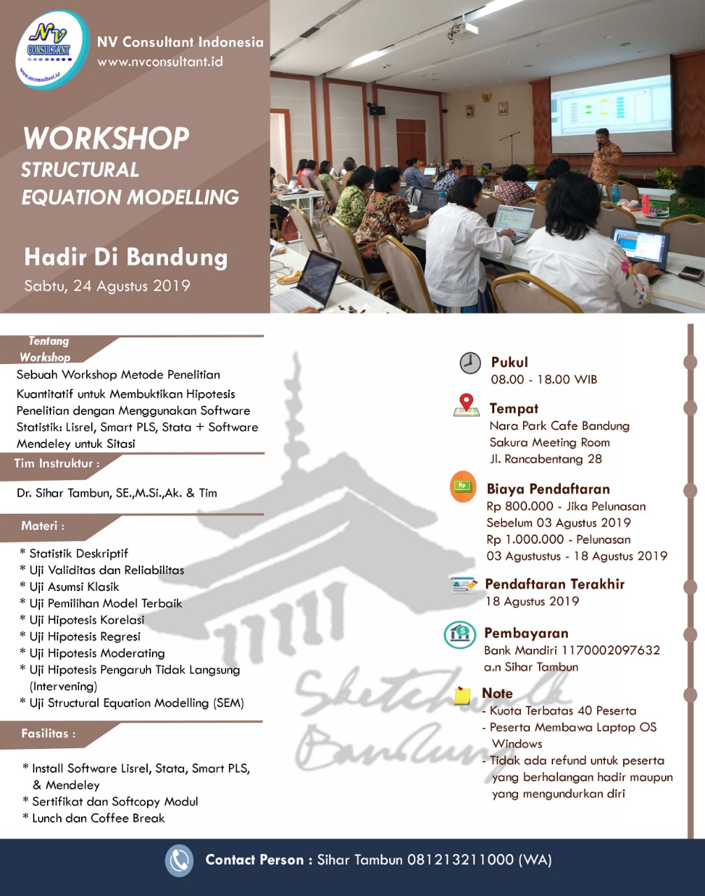 WORKSHOP STRUCTURAL EQUATION MODELLING - BANDUNG