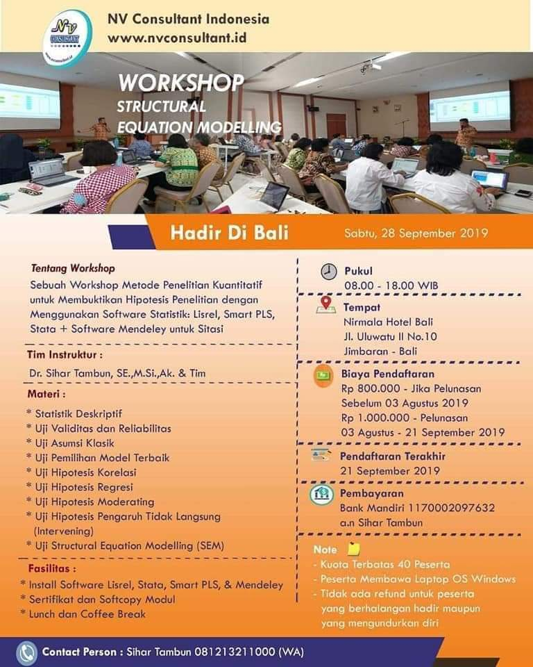 WORKSHOP STRUCTURAL EQUATION MODELLING - BALI