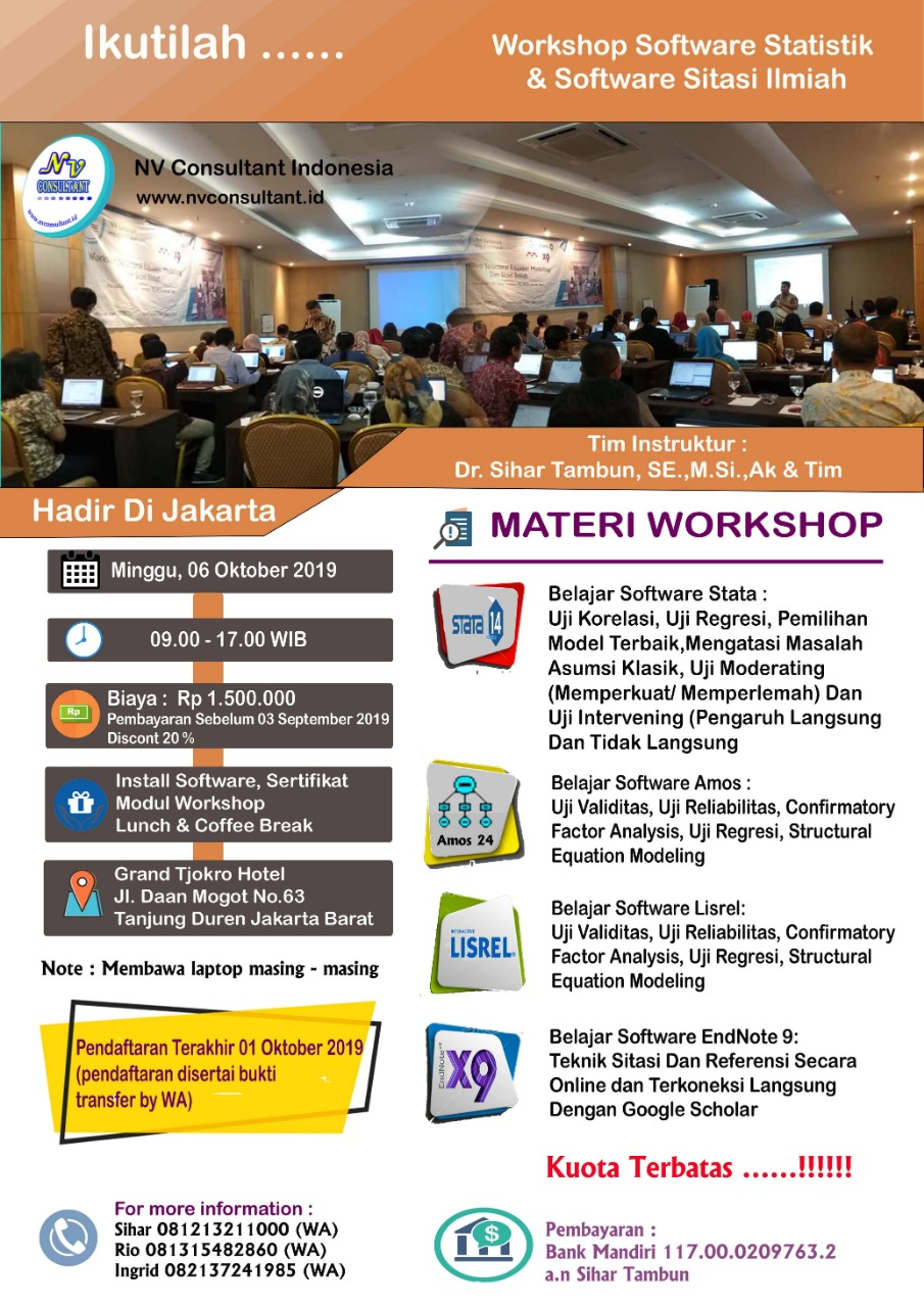 Workshop Software Statistik & Software Sitasi Ilmiah - JAKARTA 2