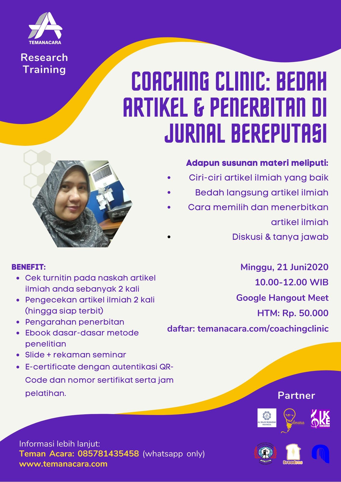 Coaching Clinic Bedah Artikel dan Penerbitan di Jurnal Bereputasi