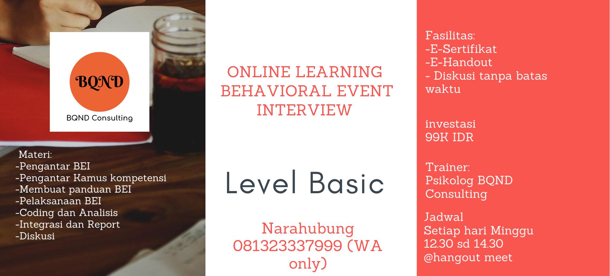 Online Training: Behavioral Event Interview level Basic