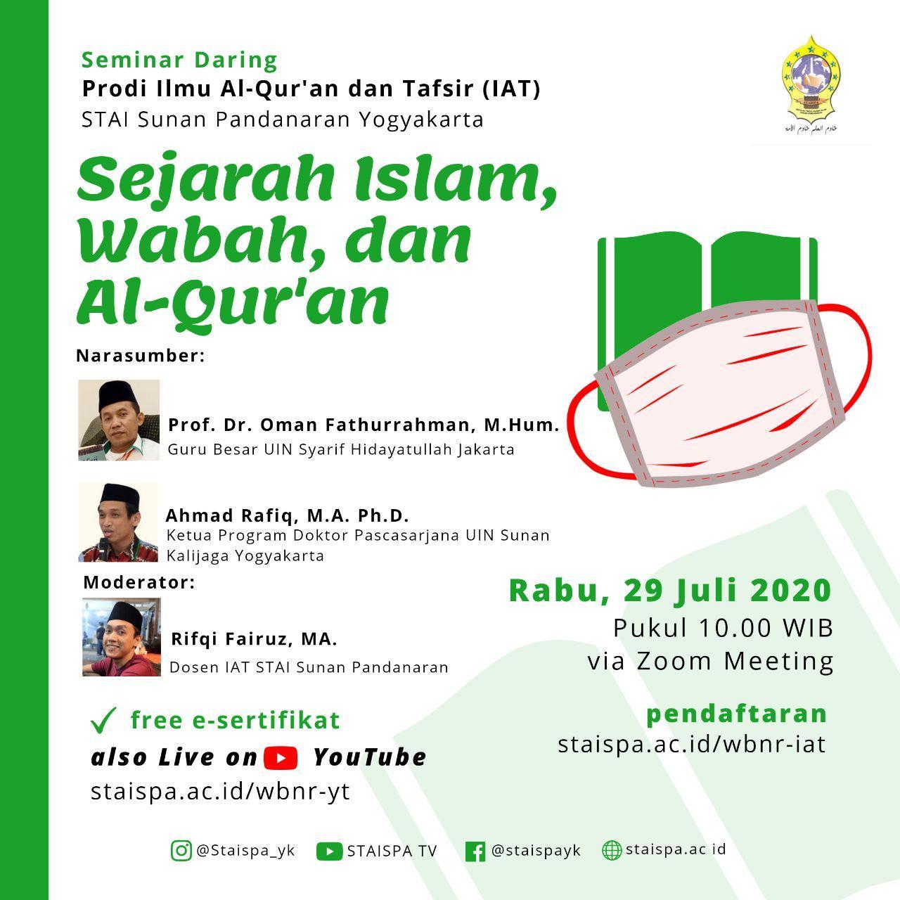SEMINAR DARING PRODI IAT STAI SUNAN PANDANARAN: SEJARAH ISLAM, WABAH, DAN AL-QUR'AN