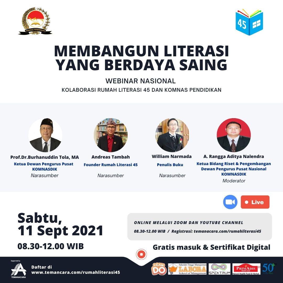 """Webinar Nasional """"Membangun Literasi yang Berdaya Saing"""""""